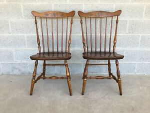 L. HITCHCOCK MAPLE HARVEST FAN BACK WINDSOR SIDE CHAIRS - A PAIR