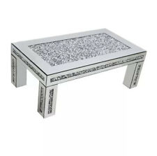 Mirror Crush Floating Diamond / Crystal Rectangular Silver Sparkle Coffee Table