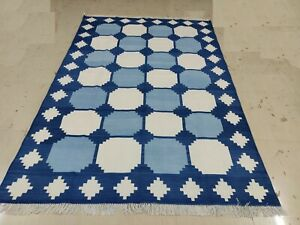 6'x9' Hand Woven Flat Weave Blue & White Reversible Cotton Rug Striped Area Rug