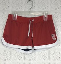 Olympic Team Apparel USA Mesh Athletic Workout Shorts Red Womens Sz M