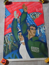 Vintage 1976 Russian / Soviet Union Propaganda Poster - Man & Woman w/ Hands Up