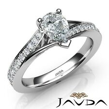 1.18ctw Pave Set Classic Side-Stone Pear Diamond Engagement Ring GIA F-IF W Gold