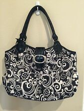 Brighton Curly Q Hobo Bag Black Patent Leather And Nylon Light Weight