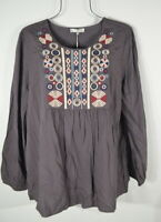 Solitaire Women's Gray Embroidered Boho Peasant Top Blouse S NWT