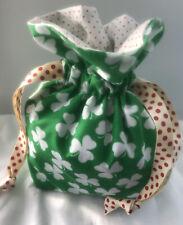Now 50% Off! St Patrick Shamrock, Handmade Lined Cotton Drawstring Bag.