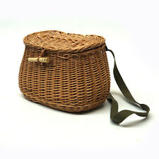 Fishing Creel Wicker Angler Basket Leather Strap Willow Woven Shoulder Bag Gift