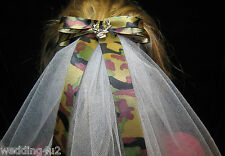 Wedding Bridal Flowergirl 2 Tier Veil Redneck Deer Hunting Hunter Camo Bow