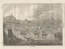 City View Algiers Algeria Ships In Harbor 1834 Original Antique Art Print Scarce