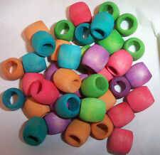 "40 Wood 5/8"" Large Colored Barrel Beads Parrot Bird Toy Parts Craft Parts New"