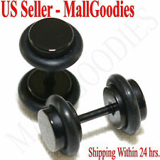 2086 Black Fake Cheaters Illusion Faux Ear Plugs 16G Surgical Steel 2G 6mm Small