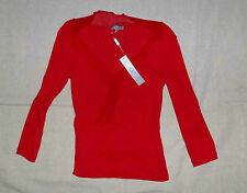 Red V neck long sleeve top  Size 10  NEW  c 1990's    PER UNA  M&S