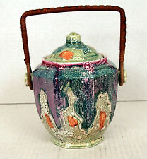 Newhall Hanley Luster Biscuit Barrel c1900 Cookie Jar England Colorful Lustre