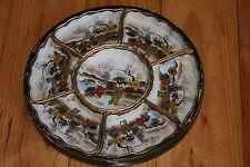 plat plateau tournant assiette porcelaine japon mont fuji émaillé ancien XIX