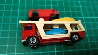 Vintage 1976 Matchbox Superfast N.11 Red Bedford Car Transporter with 3 Cars Toy