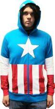 Adult Red White & Blue Superhero Captain America Hooded Sweatshirt Hoodie Jacket