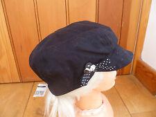 MONSOON ACCESSORIZE BLACK SPOT BOW BUTTON DETAIL BAKER BOY PEAKED HAT CAP BNWT