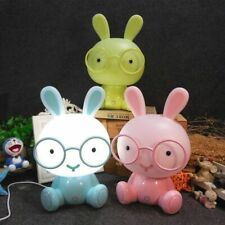 Rabbit With Glass Modern USB LED Night Lamp Kids Bedroom Decoration Gift Crafts