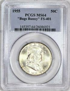 "1955 ""Bugs Bunny"" Franklin Half Dollar PCGS MS-64; FS-401"