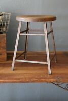 Vtg Industrial Stool Angle Iron Oak seat Drafting table Machinist workbench desk
