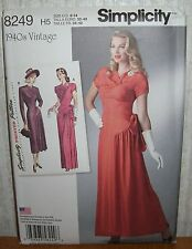Womens/Misses Retro Long Gown Dresses Sewing Pattern/Simplicity 8249/SZ 6-14/UCN