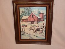 Vtg Paint By Number Winter Memories Red Barn Wagon Craft House Framed