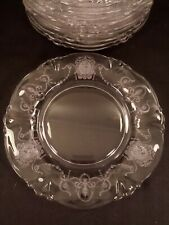"""Vintage 1940s Heisey Minuet Etched Crystal Salad Or Luncheon 8.25"""" Plates"""