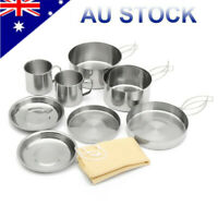 8Pcs Outdoor Camping Cookware Picnic Pot Cook Pan Set Stainless Steel Hiking BBQ
