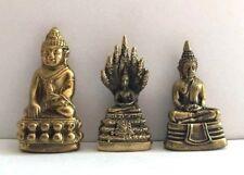 LOT 3 BOUDDHA Bouddhisme statuette figurine miniature laiton amulette Cambodge