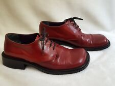 Vtg 90's Nine West Red Leather Loafers 37 6.5 7 Shoes Rockabilly Festival Italy