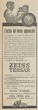 Z3320 Obbiettivo fotografico ZEISS Tessar - Pubblicità d'epoca - 1926 vintage ad