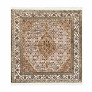 "6'9""x6'9"" Wool And Silk Fish Design Tebraz Mahi Hand Knotted Square Rug R62610"