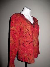 ❤️Red Black Gold Bead Accents CHICOS Top Shirt Pullover Silk Stretch Bld LgSlv 2