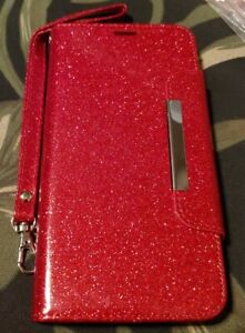 For Google Pixel 3 XL Pouch Glitter Wallet with Snap Button & Wrist Strap. Red