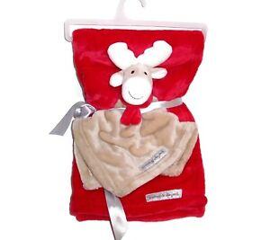NEW Blankets and & Beyond XMAS Moose Reindeer Baby Blanket Red Scarf Set 2 Pc