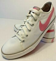 RARE Nike Canvas White w/ Pink Swoosh Tennis Shoes Sneakers Women's size 10