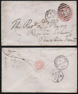 1866 pre-paid envelope, postmark REPTON, + BURTON-on-TRENT, duplex 79 LONDON