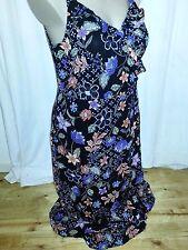 Rockmans frill wrap black & blue Summer Maxi holiday Beach party dress size 16