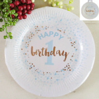 1ST BIRTHDAY BOY PAPER PLATES 23CM PACK OF 12 BIRTHDAY PARTY SUPPLIES