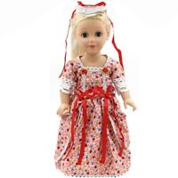 """Doll Clothes 18"""" Colonial Dress Red White Floral Gown Fit American Girl Dolls"""
