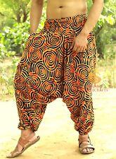 Men Cotton Yellow Harem Yoga Pants Women Printed Drop Crotch Genie Boho Pants SC