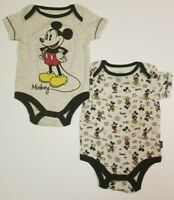 Mickey Mouse Baby Boys 2-Pack Bodysuits Infant One Piece NB, 0-3, 6-9,12 Months