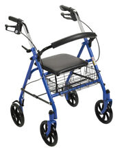 Adult Walker With Seat Wheels Fold Up Brakes Basket Blue Deluxe New! A31