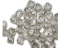 9mm Mushroom Bicone Bright Silvertone Metalized Metallic Beads