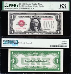 Amazing Rare CHOICE UNC 1928 $1 RED SEAL US Note! Low 4-digit serial no! PMG 63!