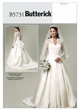 Butterick Sewing Pattern B5731 SZ 14-20 Wedding Dress Lace-Overlay and Train