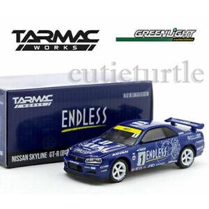 Greenlight Tarmac Works Nissan Skyline GT-R R34 1/64 Endless Blue 51184