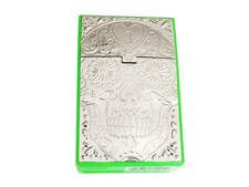 Green & Silver Kingsize Skull Design Cigarette Case