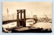 RPPC Lower New York Skyline Brooklyn Bridge East River Seidman Photo Postcard