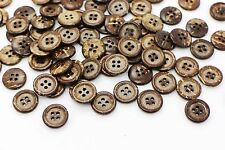 Round Coconut Button Raised Edge Four Holes Natural DIY Bead Sweater 15mm 20pcs
