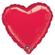 Rouge Métallique Cœur Ballon Plat Anniversaire de Mariage Décoration Fête